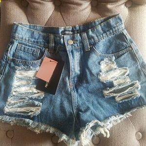 Pretty Little Thing Denim Cutoff Shorts